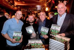Pictured is Former Connacht and Ireland players Johnny O'Connor and Noel Mannion, Inpho Photography's James Crombe and author John Fallon at the Galway launch of the Connacht Rugby Book : The Team That Refused To Die this week. Picture by INPHO/James Crombie