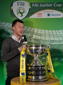 Alan Cawley is interviewed during the FAI Junior Cup Quarter Final Launch and Draw at the Aviva Stadium in Lansdown Road, Co. Dublin. Photo by Cody Glenn/Sportsfile *** NO REPRODUCTION FEE ***