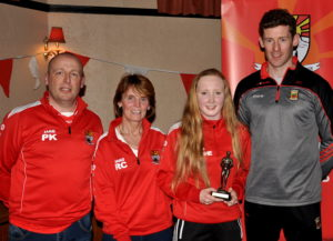 coolera-strandhill-minor-ladies-footballer-of-the-year-caoimhe-o-sullivan-with-pat-kerrigan-rose-cawley-and-special-guest-david-clarke