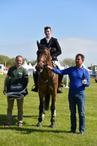 IT Sligo Sports Scholarship student Kevin Gallagher from Ballygawley  aboard Kilarado in the winners' enclosure at Balmoral Show last week. (L-R): Padge Whelan (Dengie - event sponors), Kevin Gallagher & Declan McGarry (Owner). Picture: Prime Photography.
