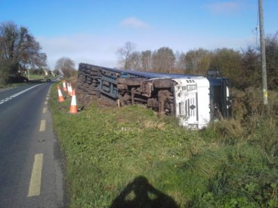 Overturned Truck on the N4 Collooney to Castlebaldwin
