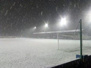 Finn Park on a snowy evening.