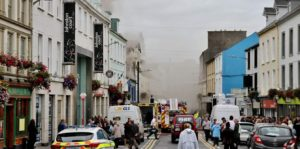 Smoke covers O'Connell Street in Sligo after a fire broke out at McGarrigles Pub