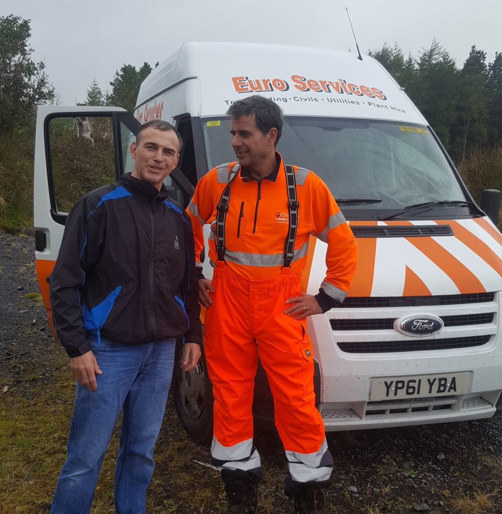 Councillor Dara Mulvey with Euroservices which has started work on a brand new Mountain Bike Trail in county Sligo