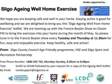 VIDEO/PODCAST: WEEK 4 SLIGO AGEING WELL HOME EXERCISE PROGRAMME
